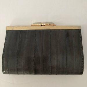 Handbags - Vintage Gray Wallet Eel Skin Kiss Lock Closure